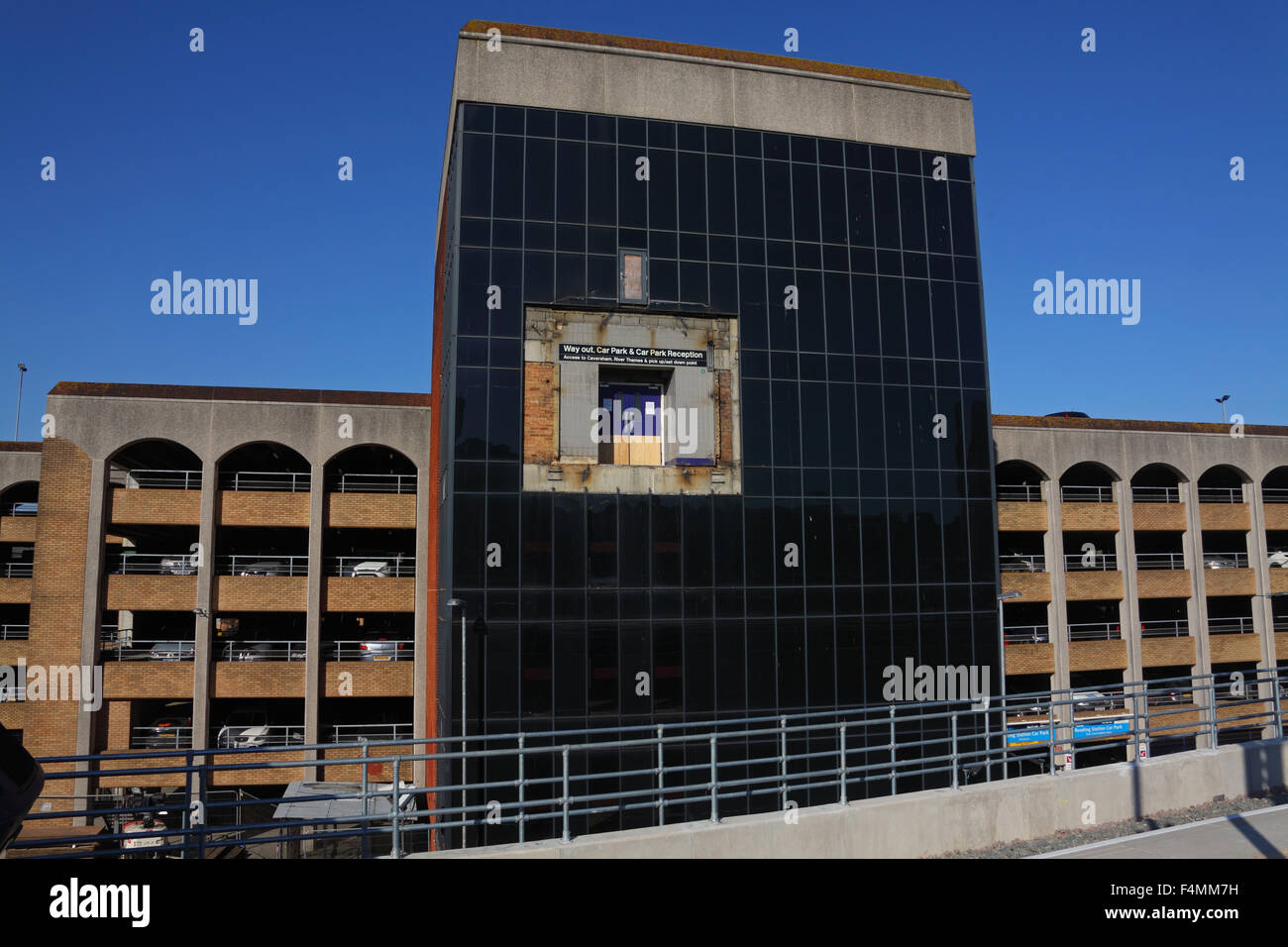 A high level entrance to the multi storey car park where to entrance walkway has now been removed. - Stock Image