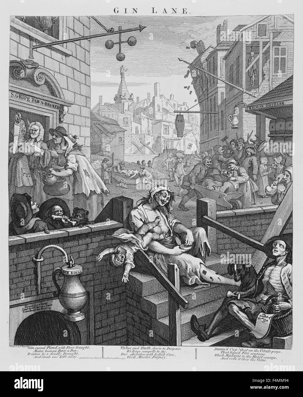 GIN LANE engraving by William Hogarth about 1750 Stock Photo