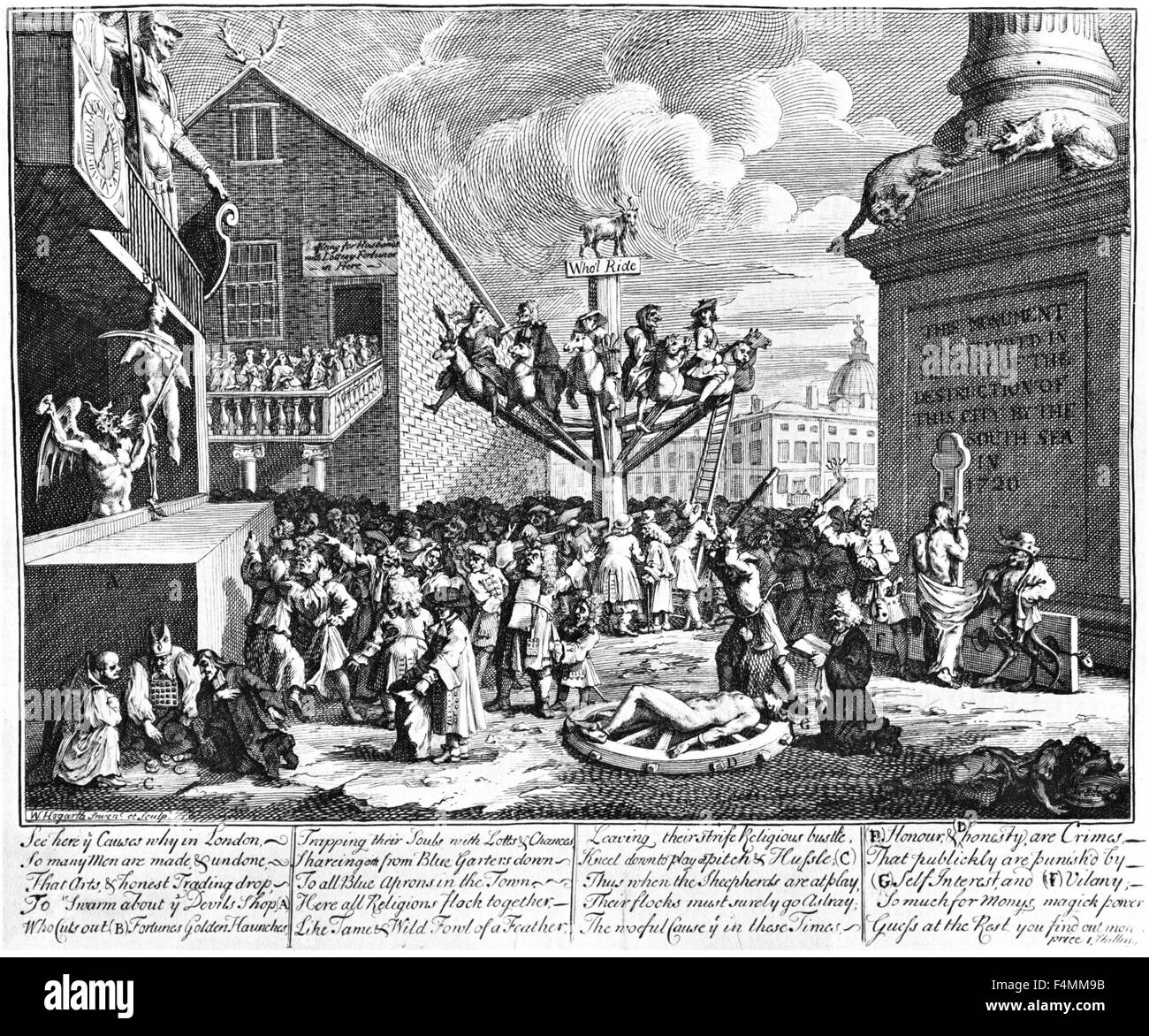 SOUTH SEA SCHEME as engraved by William Hogarth Stock Photo