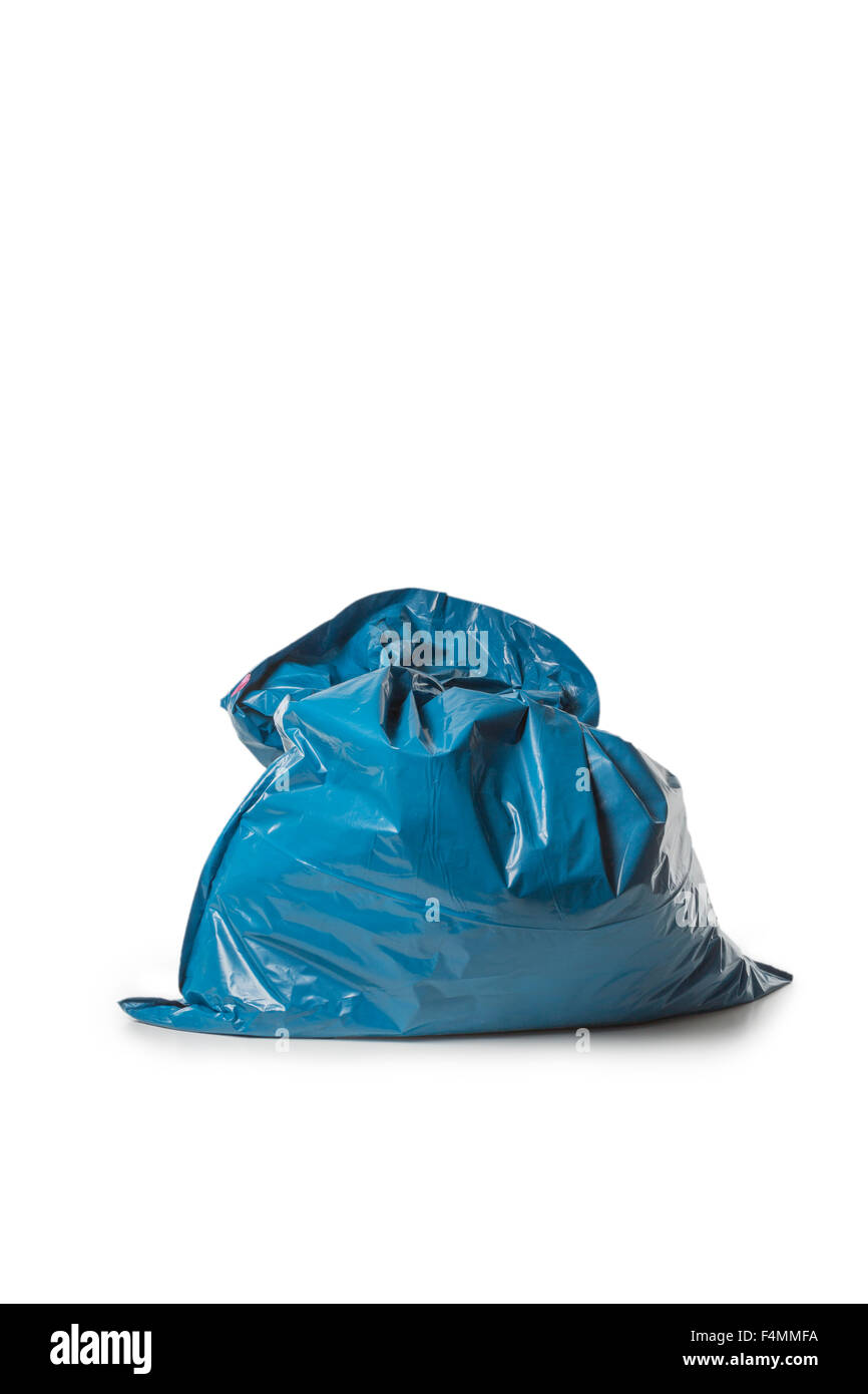 Blue Rubbish Bag isolated on white background - Stock Image