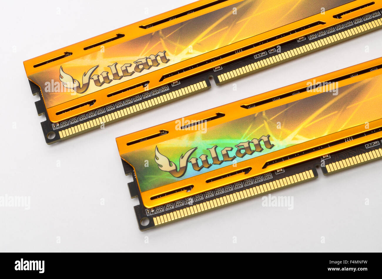 Team Group Vulcan DDR3 4Gb 2400MHz memory cards with holographic stickers on heat spreaders. - Stock Image