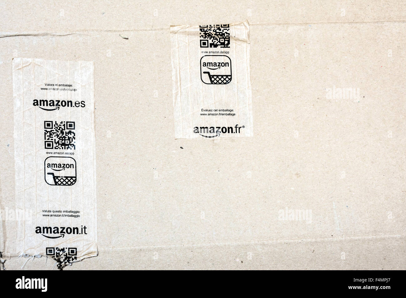 detail of delivered Amazon parcel - Stock Image