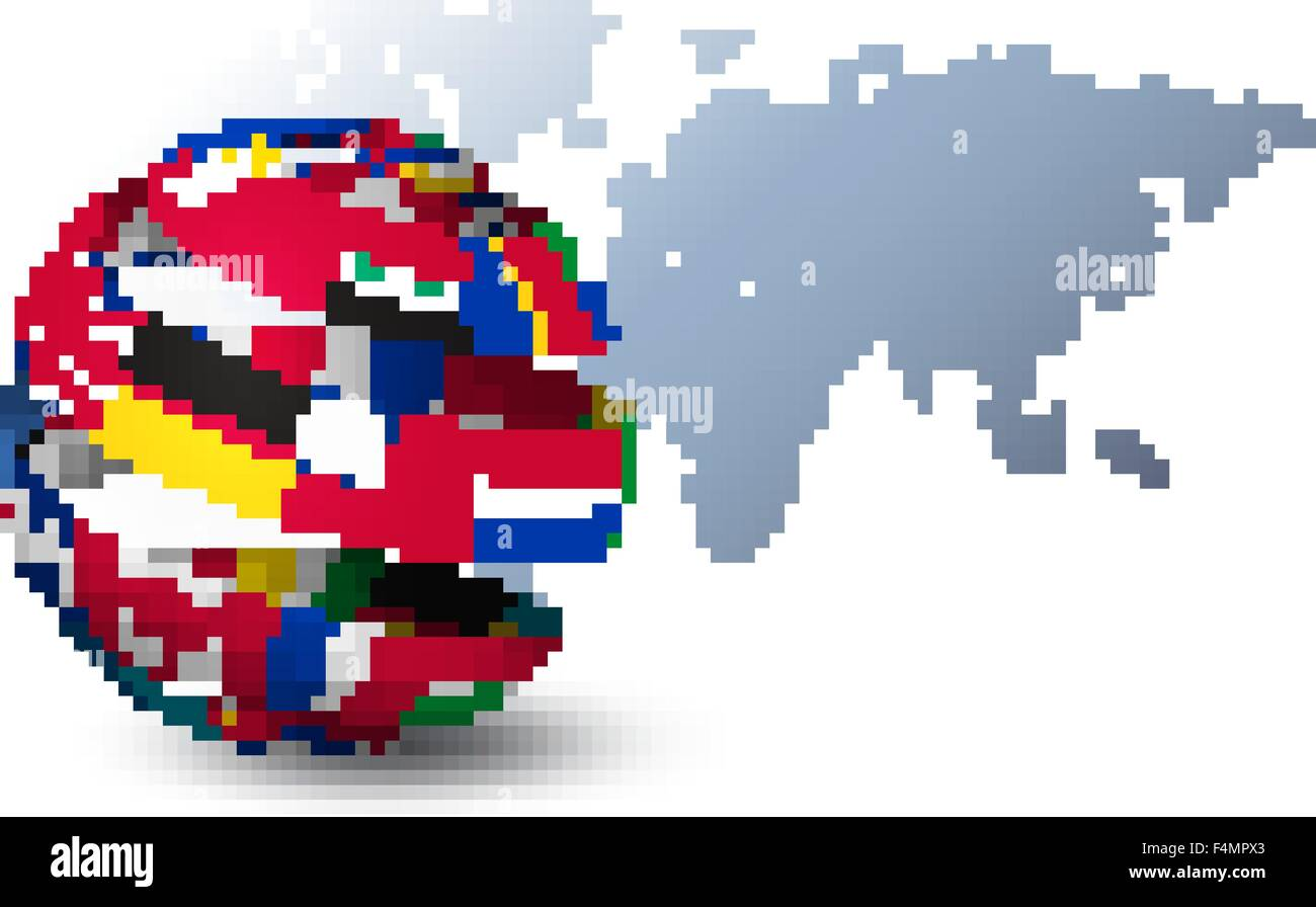 Globe made out of flags on a world map background vector stock globe made out of flags on a world map background vector gumiabroncs Gallery