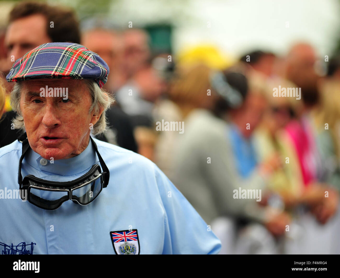 Former F1 racing driver Sir Jackie Stewart at the Goodwood Festival of Speed in the UK. - Stock Image
