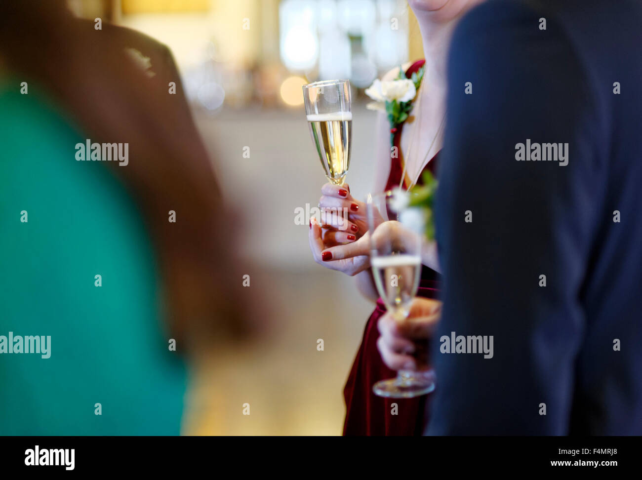 Wedding guests talking and holding champagne - Stock Image