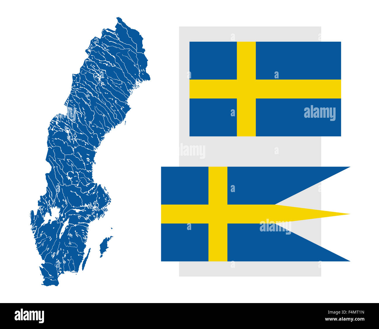 Very detailed map of Sweden in colors of the Swedish flag with lakes rivers and two Swedish flags. - Stock Image