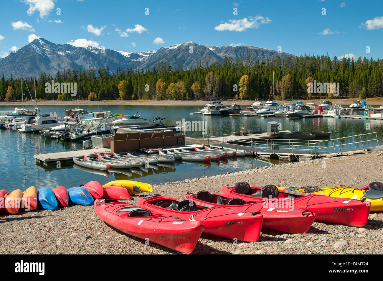 Colter Bay Marina, Jackson Lake, Wyoming, USA Stock Photo
