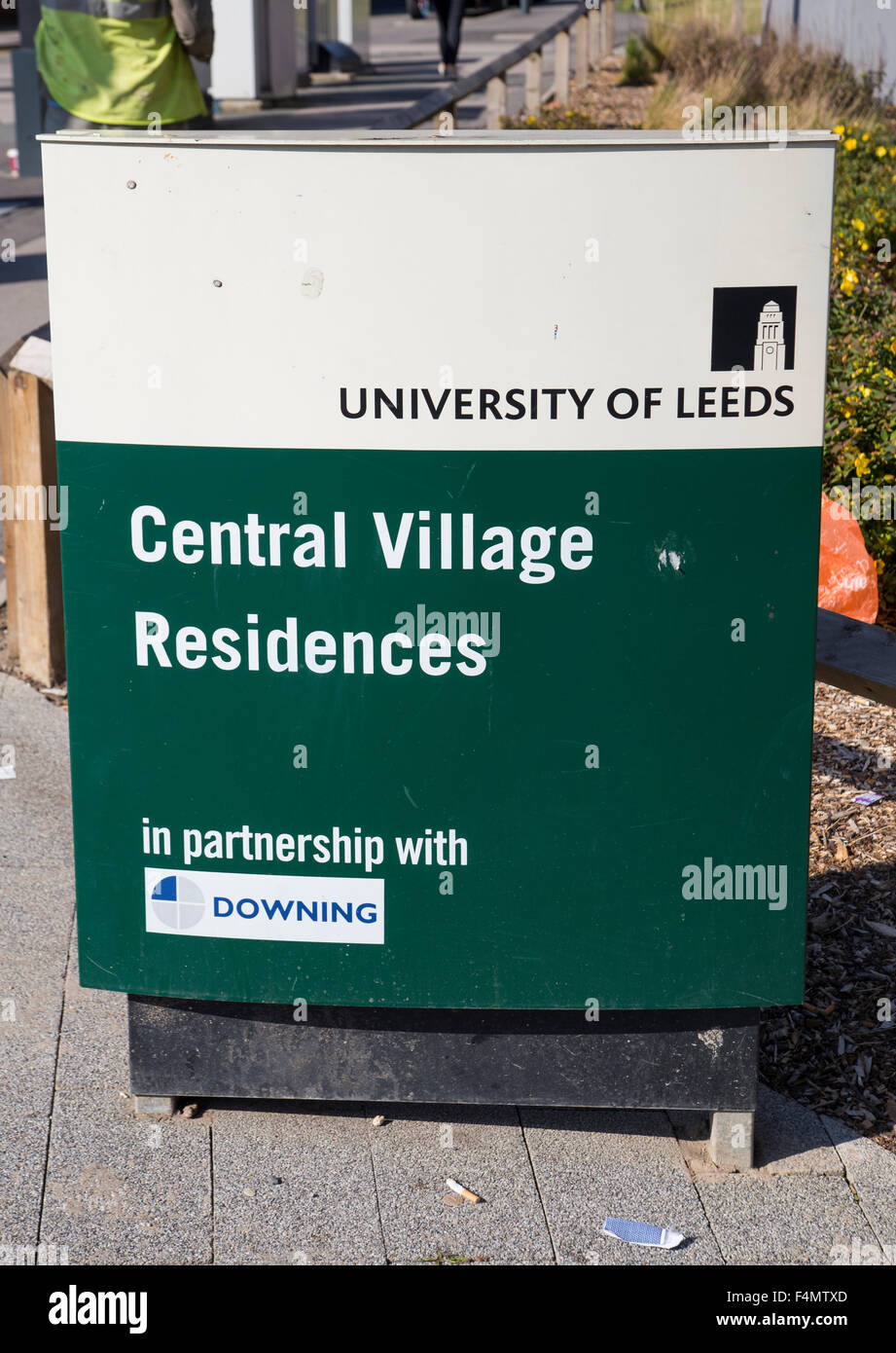 Leeds University.  Sign for student accommodation in leeds - Stock Image
