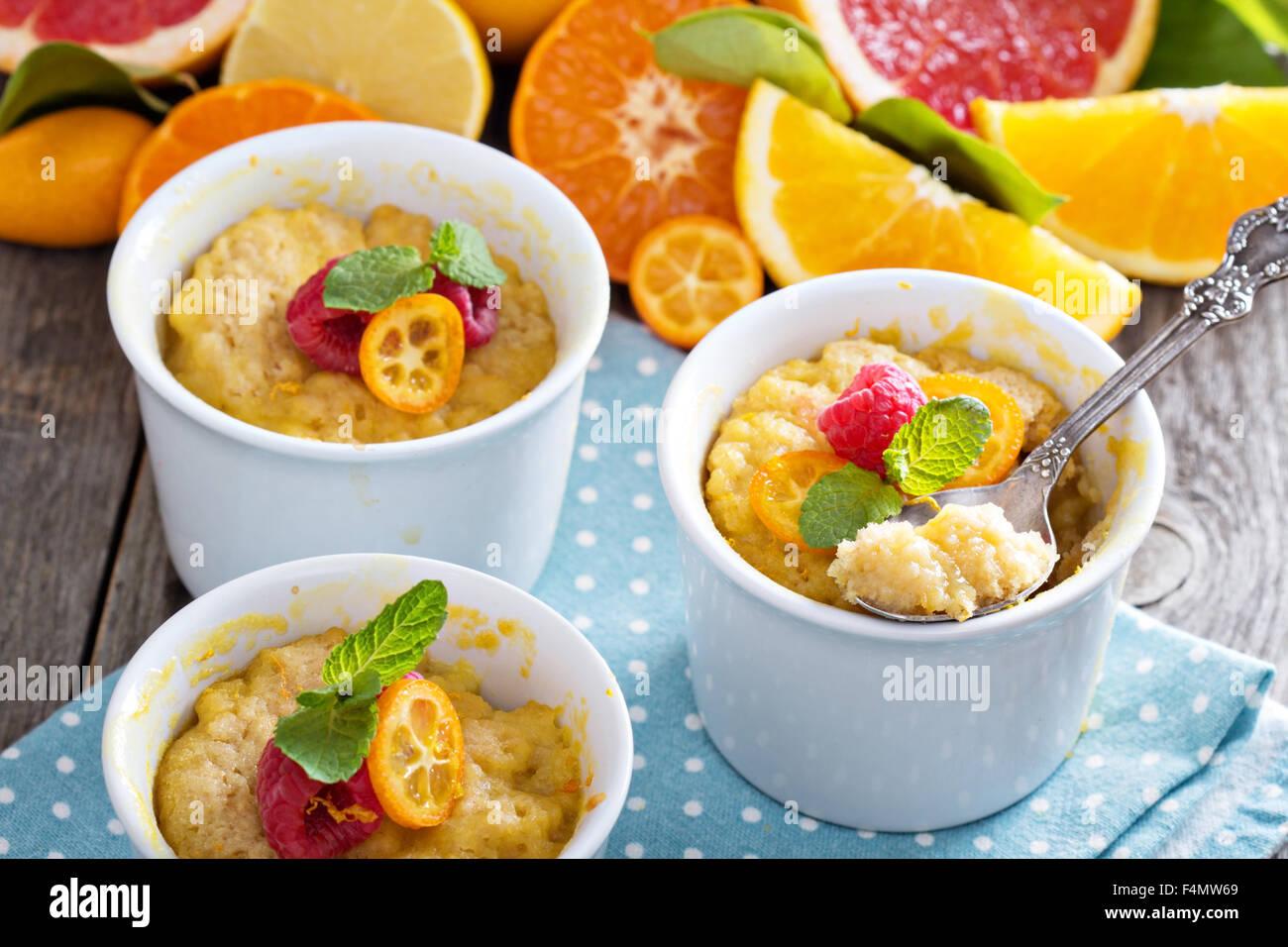 Citrus pudding in white ramekins with oranges, grapefruit, kumquats and raspberries - Stock Image