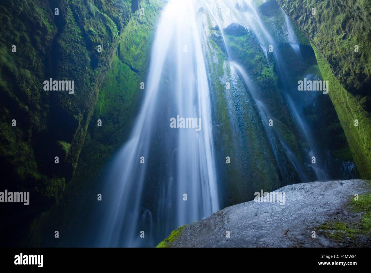 Gljufurarfoss waterfall deep within a narrow canon, Seljaland, Sudhurland, Iceland. - Stock Image