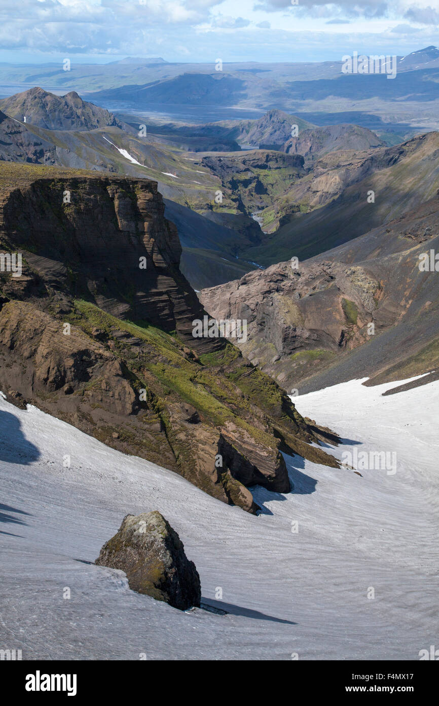 View down Hvannargil valley from the Fimmvorduhals trail, Porsmork, Sudhurland, Iceland. - Stock Image