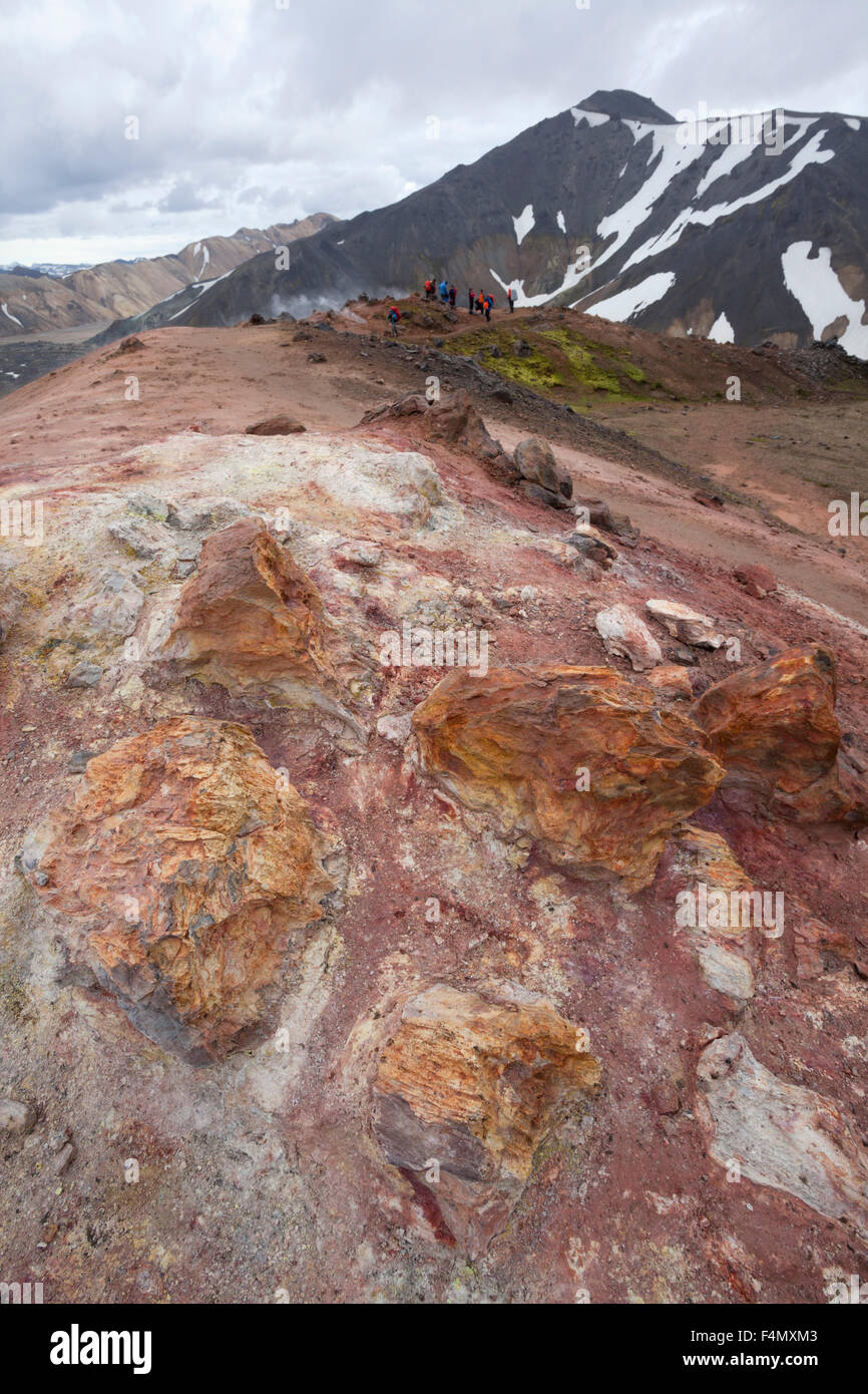 Volcanic mineral deposits at Landmannalaugar, Sudhurland, Iceland. - Stock Image