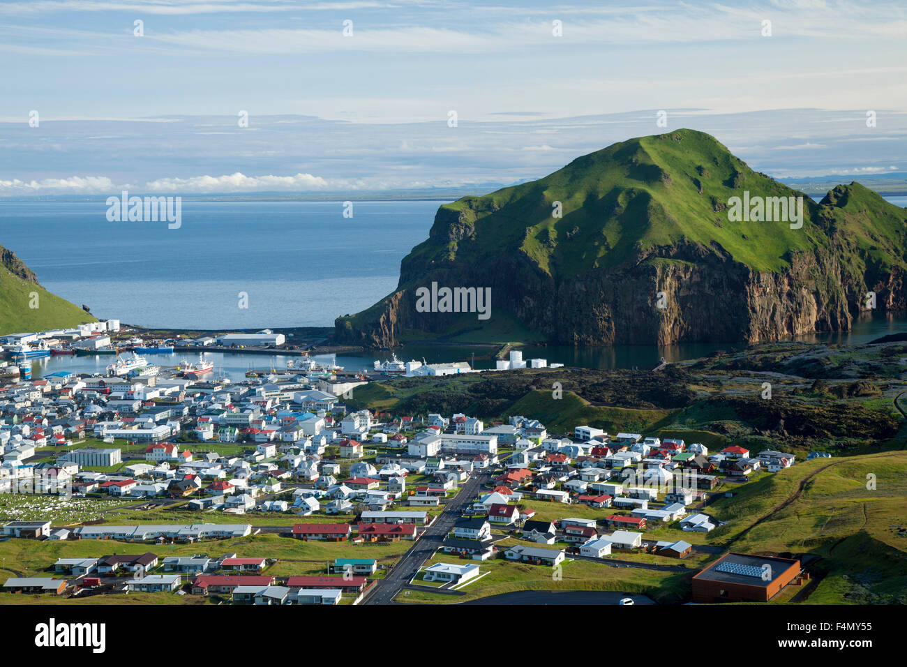 View across Heimaey town, Heimaey, Westman Islands, Sudhurland, Iceland. - Stock Image