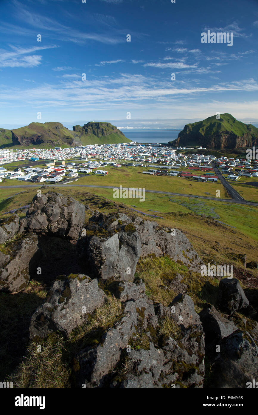 View across Heimaey town from Helgafell, Westman Islands, Sudhurland, Iceland. - Stock Image