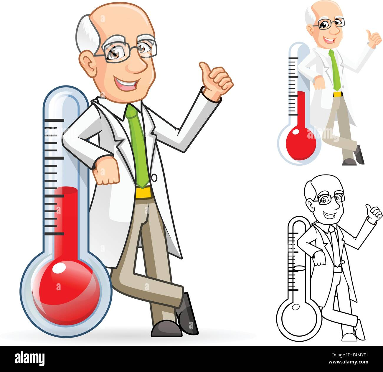 Scientist Cartoon Character Leaning Against a Temperature - Stock Vector