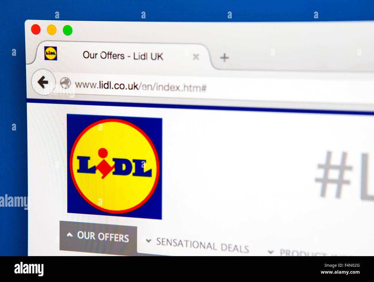 LONDON, UK - JUNE 19TH 2015: The homepage of the Lidl company website, on 19th June 2015. - Stock Image