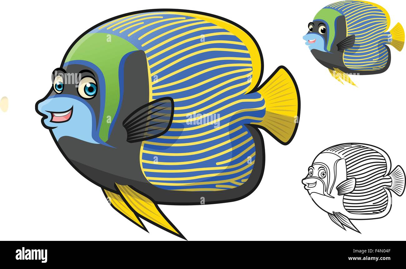 Emperor Angel Fish Cartoon Character Include Flat Design and Line Art Version - Stock Image