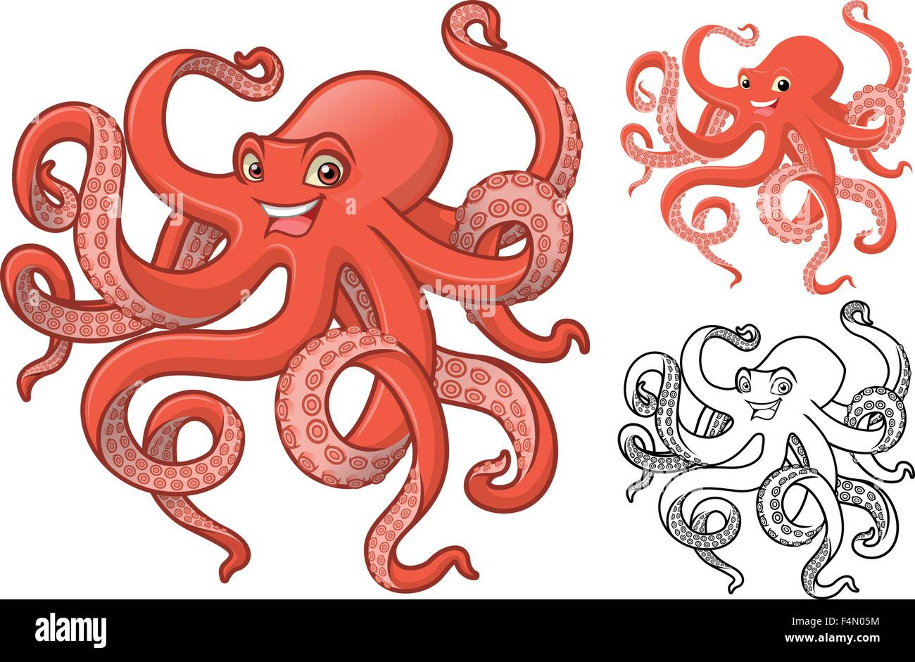 high quality octopus cartoon character include flat design and line rh alamy com cartoon octopus character images cartoon octopus character images