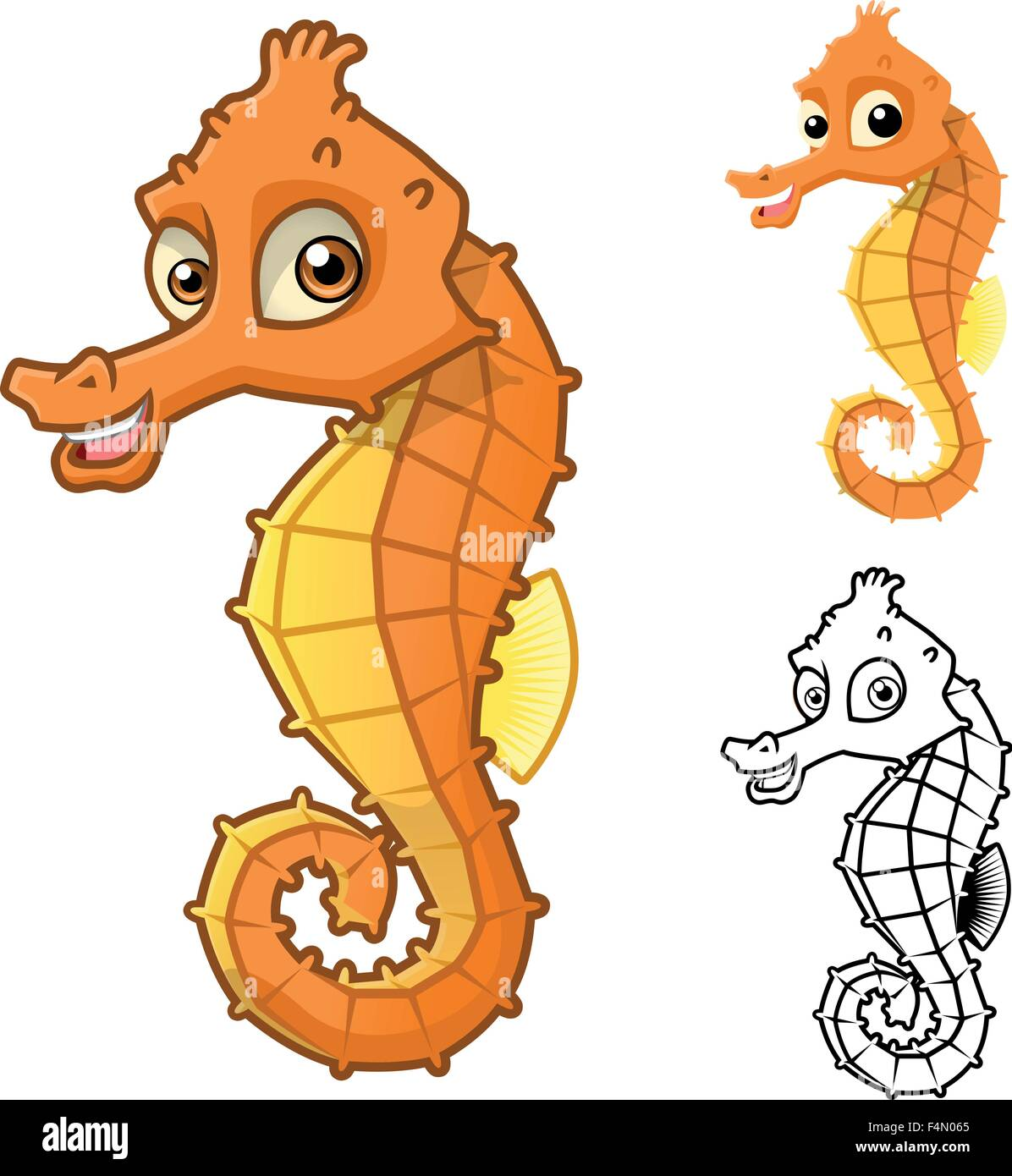 High Quality Sea Horse Cartoon Character Include Flat Design And Line Stock Vector Image Art Alamy
