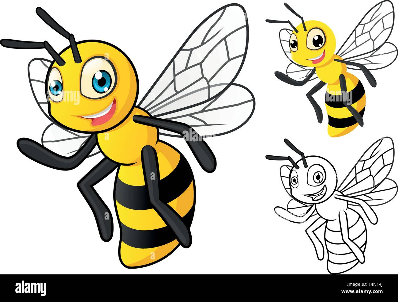 Detailed Honey Bee Cartoon Character with Flat Design and Line Art Black and White Version - Stock Vector