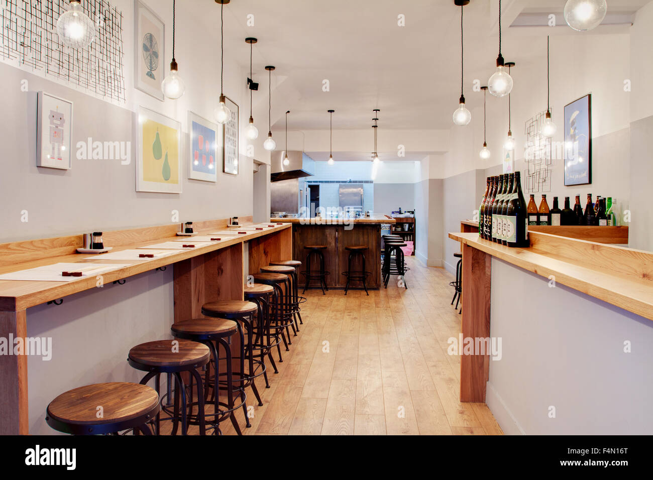 Interior of japanese restaurant muga in london stock photo