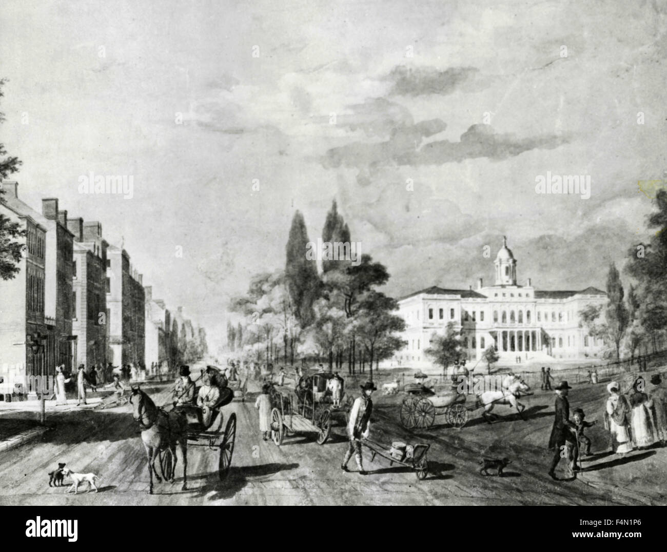 Painting of Broadway, New York in 1818, USA