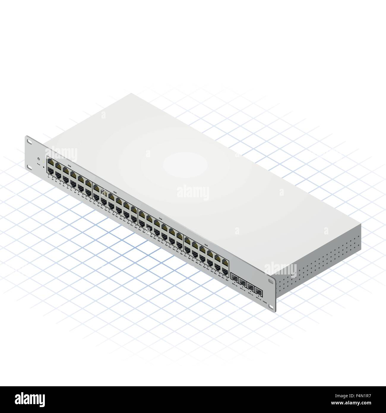 Isometric Switch with Fourty Eight Port Vector Illustration - Stock Image