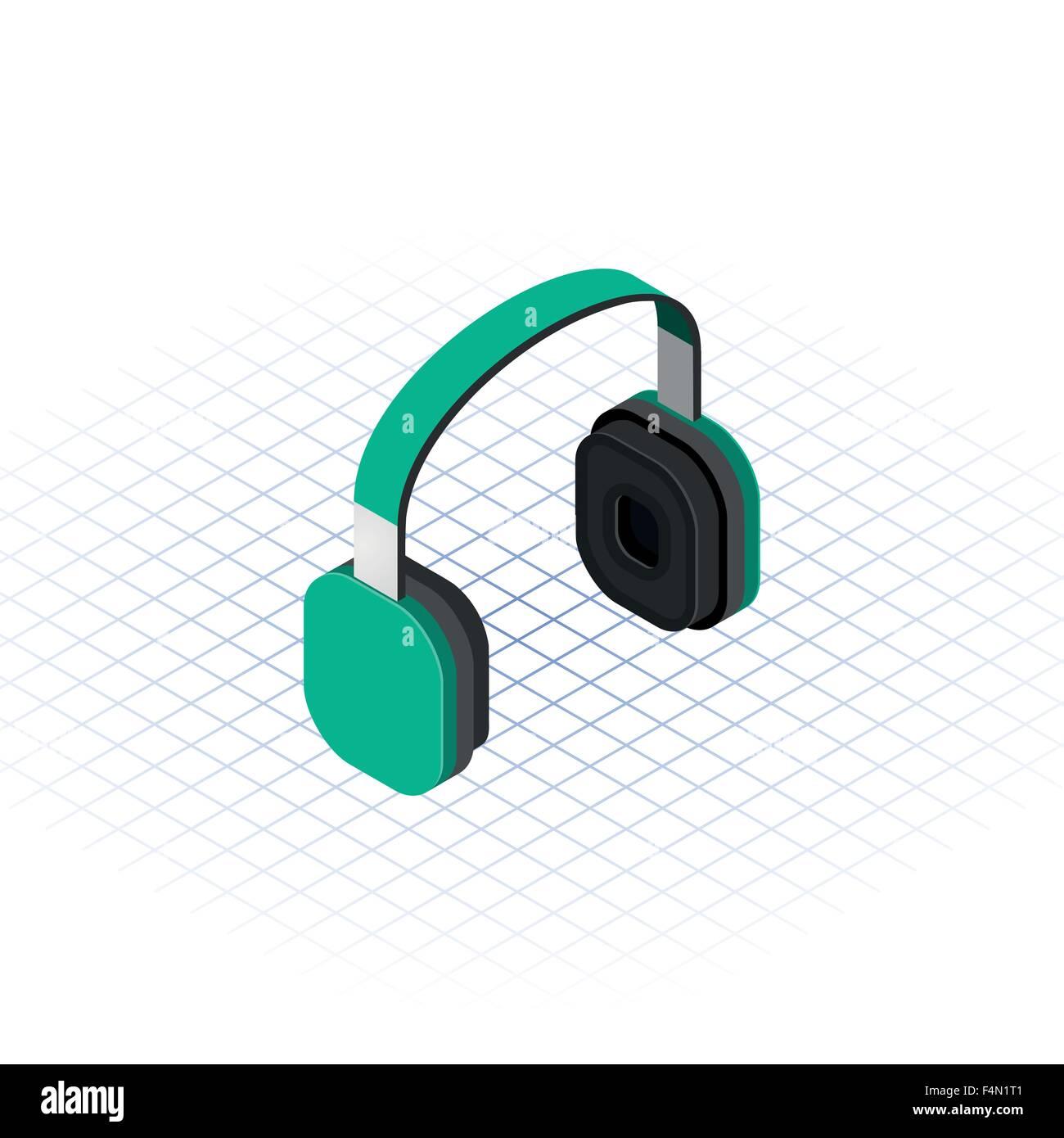 Isometric Headphone - Stock Image