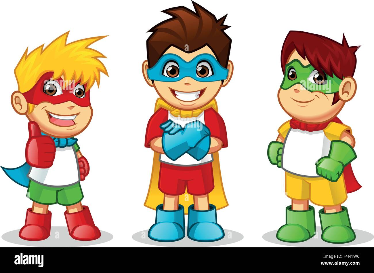 High Quality Kid Super Heroes Cartoon Character Vector Illustration - Stock Image