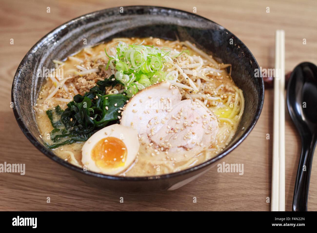 Japanese Miso based Ramen noodles - Stock Image