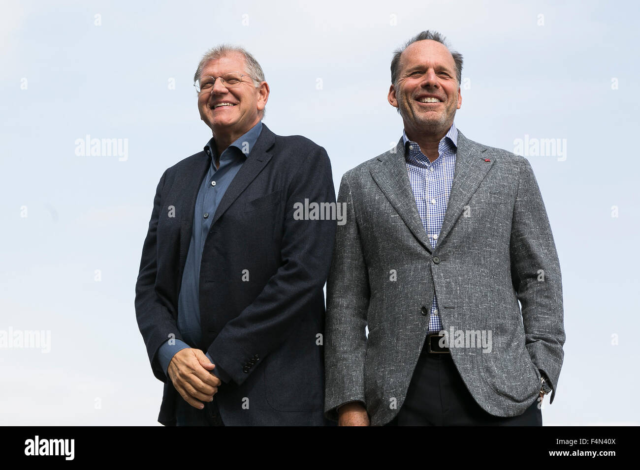 Tokyo, Japan. 21st Oct, 2015. (L to R) Director Robert Zemeckis and producer Jack Rapke, both from the USA, pose - Stock Image