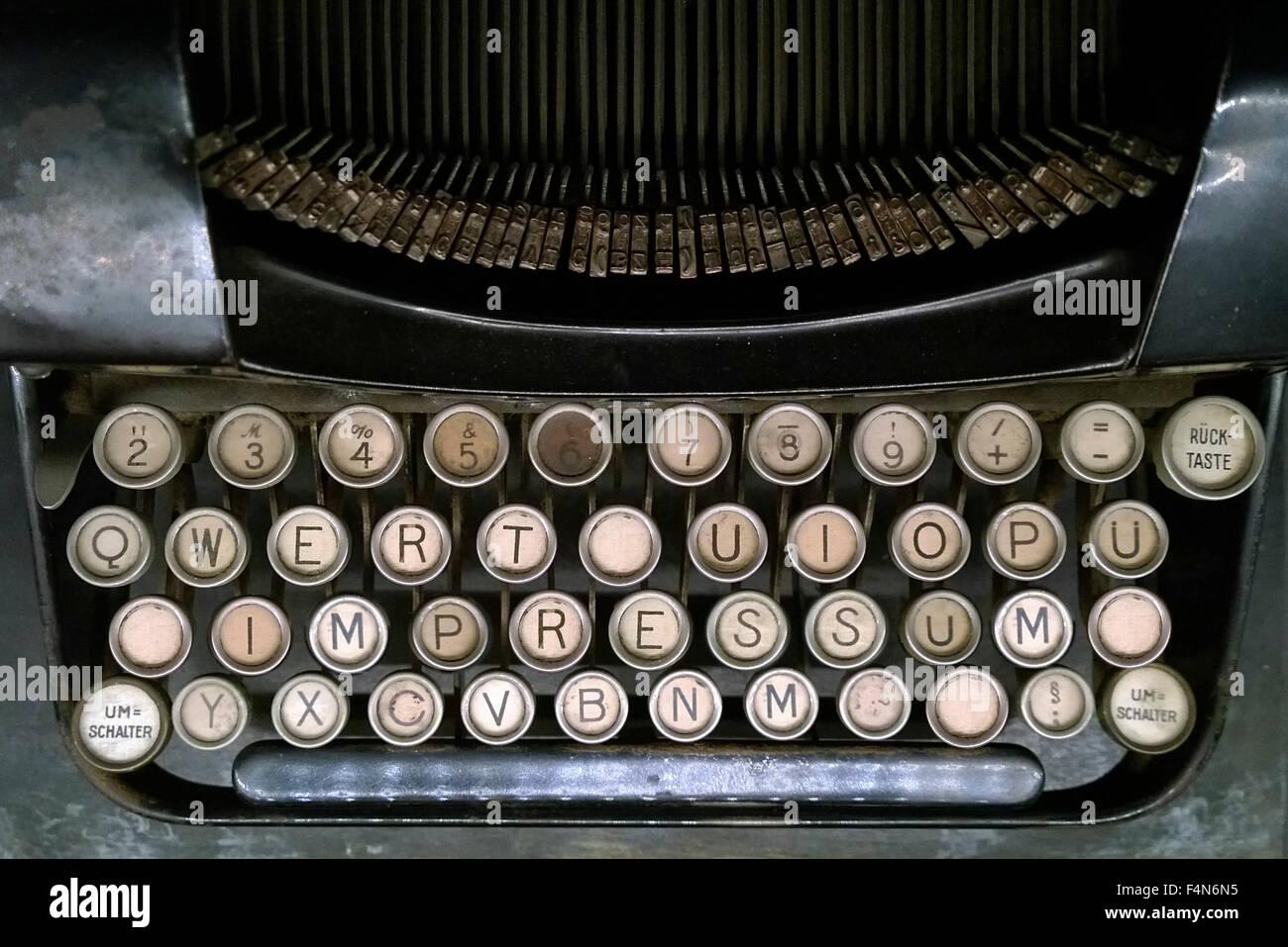 Impressum on old typewriter - Stock Image