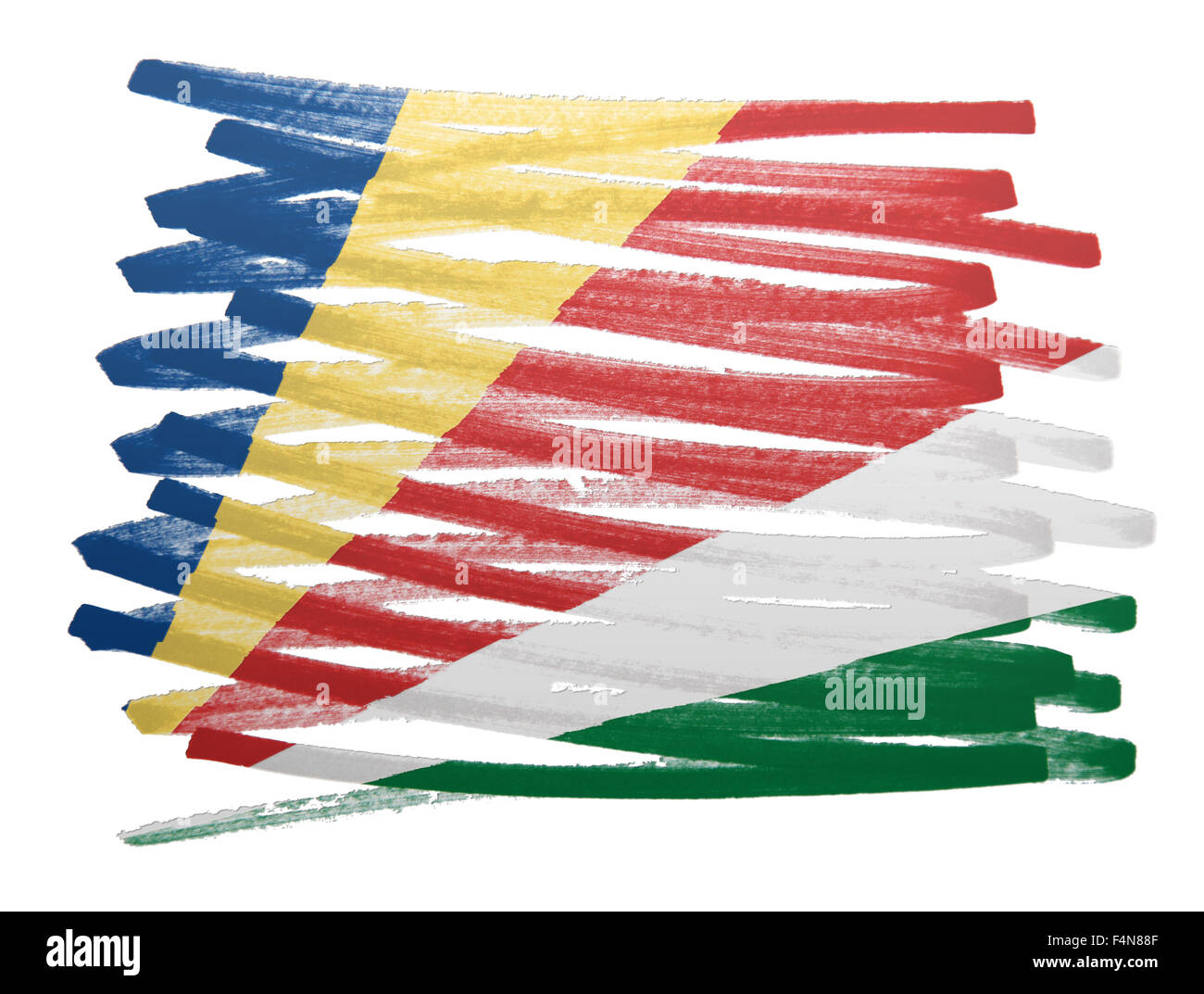 Flag illustration made with pen - Seychelles - Stock Image