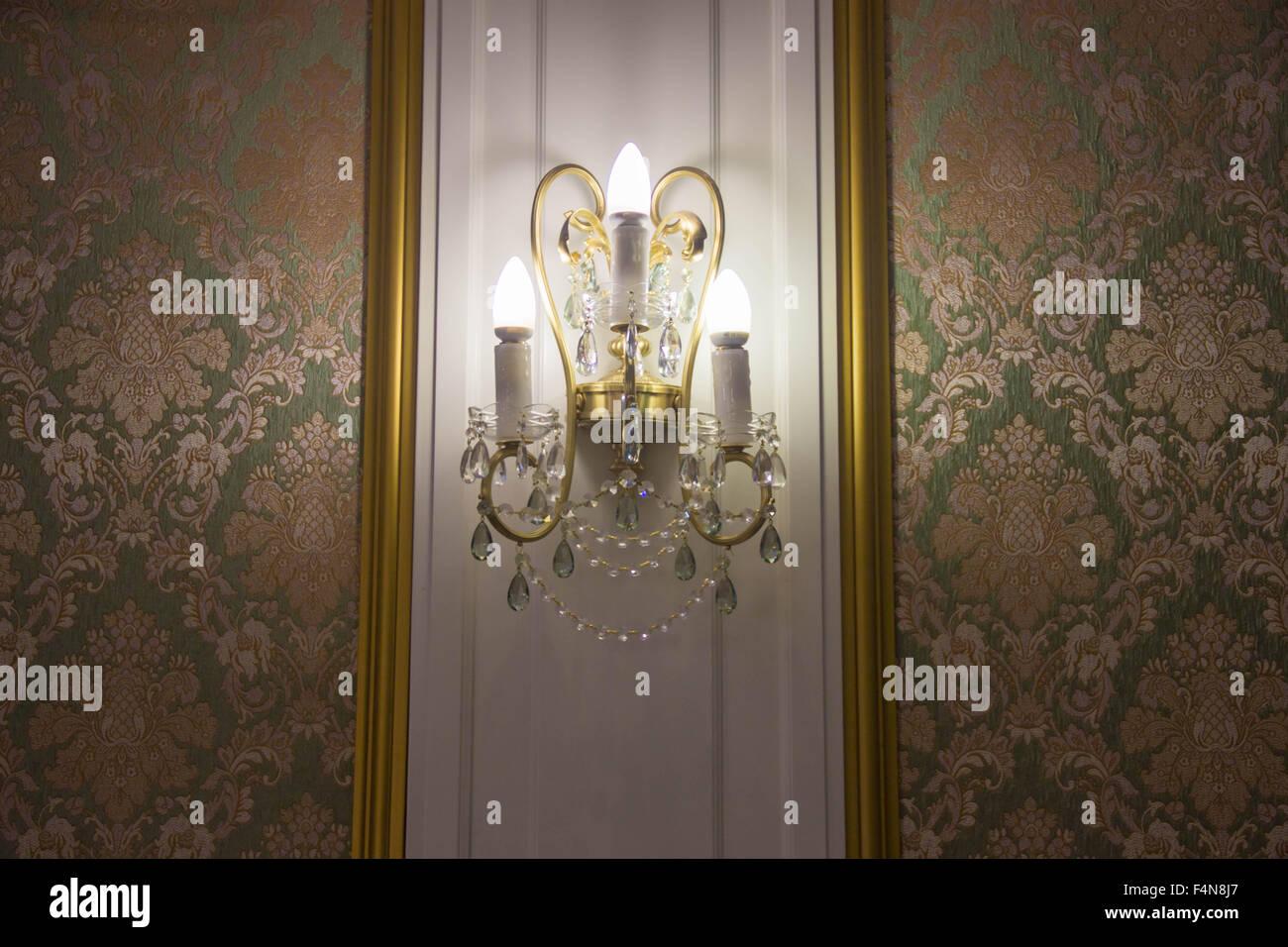 Lamp vintage antique decorative light furniture interior Stock Photo