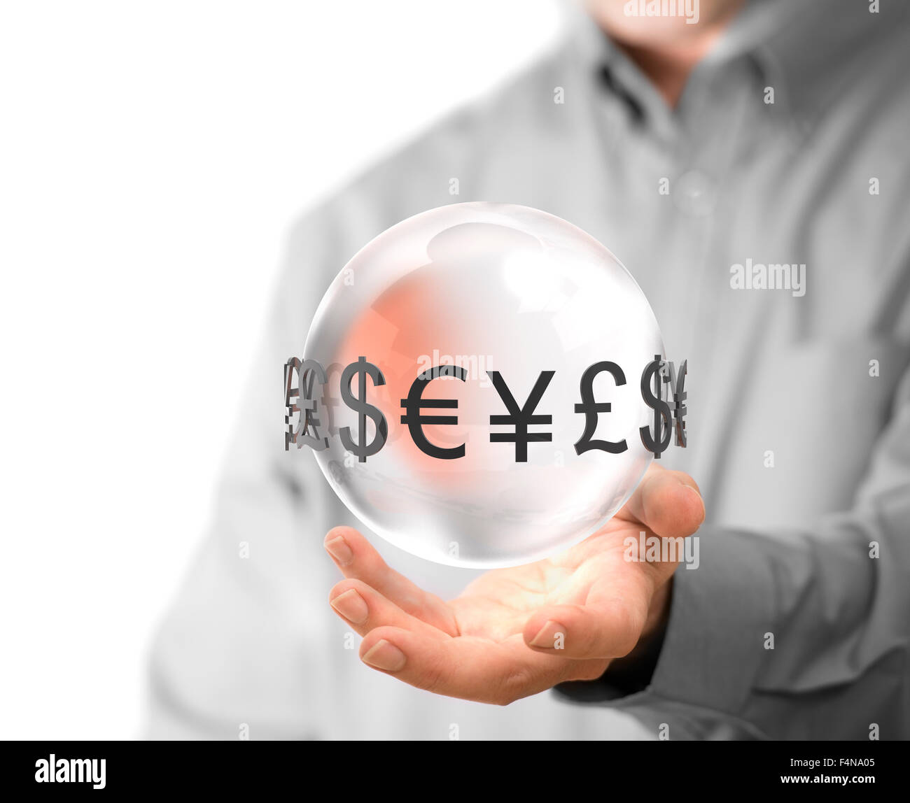 Man hand holding glass sphere with currencies around it. Concept image for illustration of currency exchange. - Stock Image