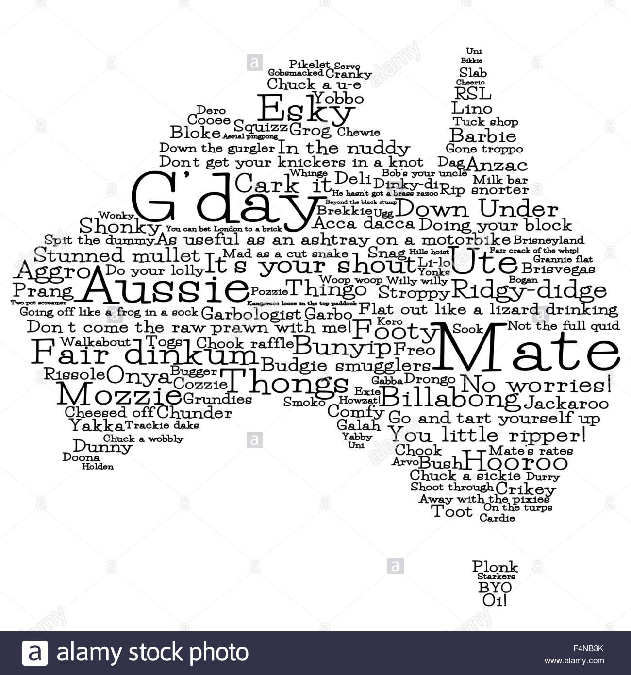 Australia map made from australian slang words in vector format australia map made from australian slang words in vector format kristyandbryce Gallery