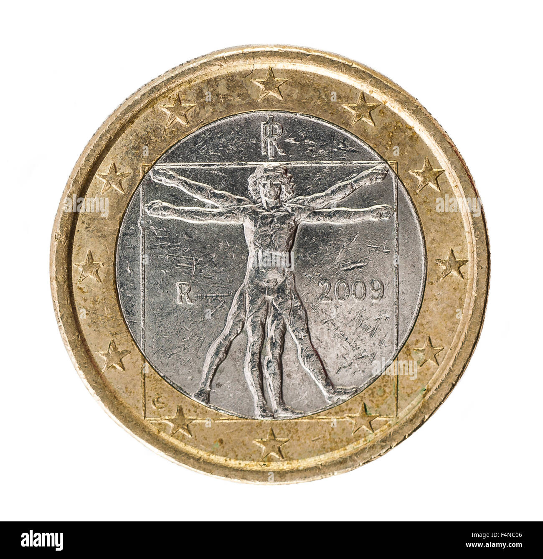 Leonardo Da Vinci Vetruvian Man one Euro Coin backside on white - Stock Image