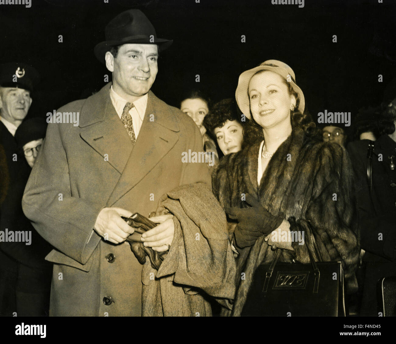 British actors Sir Laurence Olivier and Vivien Leigh - Stock Image