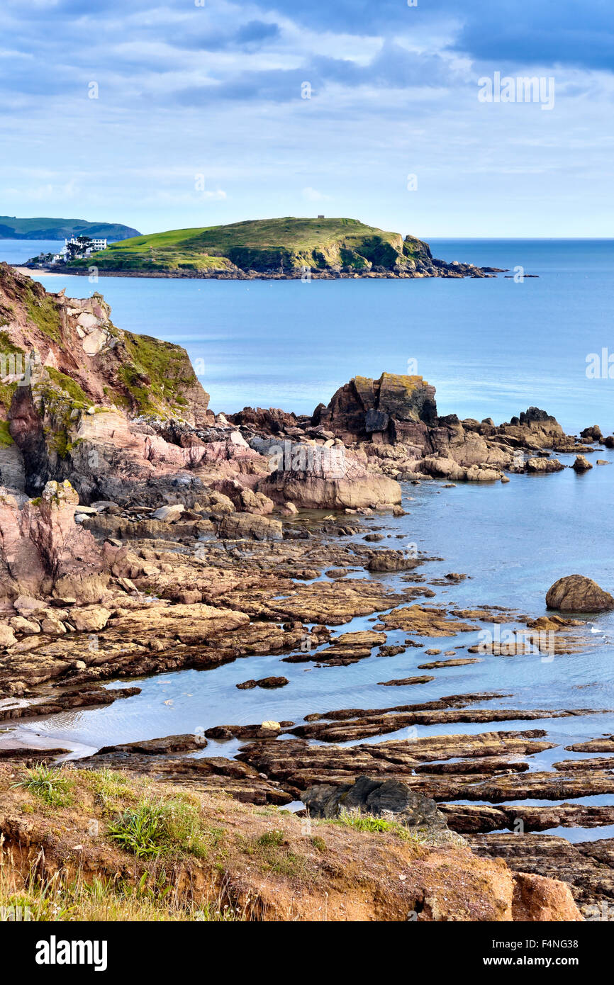 Burgh island and South Devon coastline, UK - Stock Image