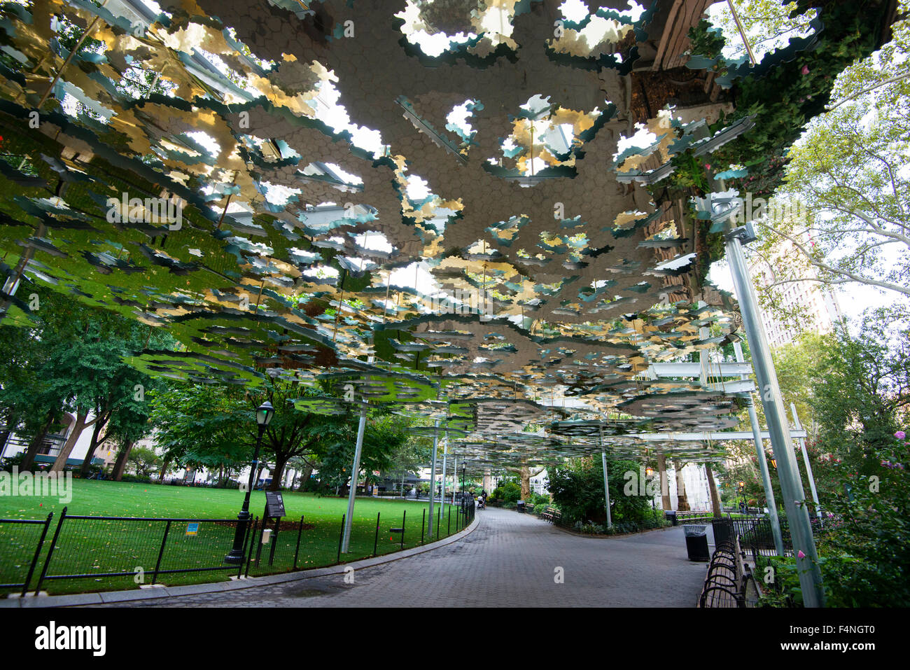 Public Art Made Up Of Mirrors By Fata Morgana In Madison Square Park Stock Photo Alamy