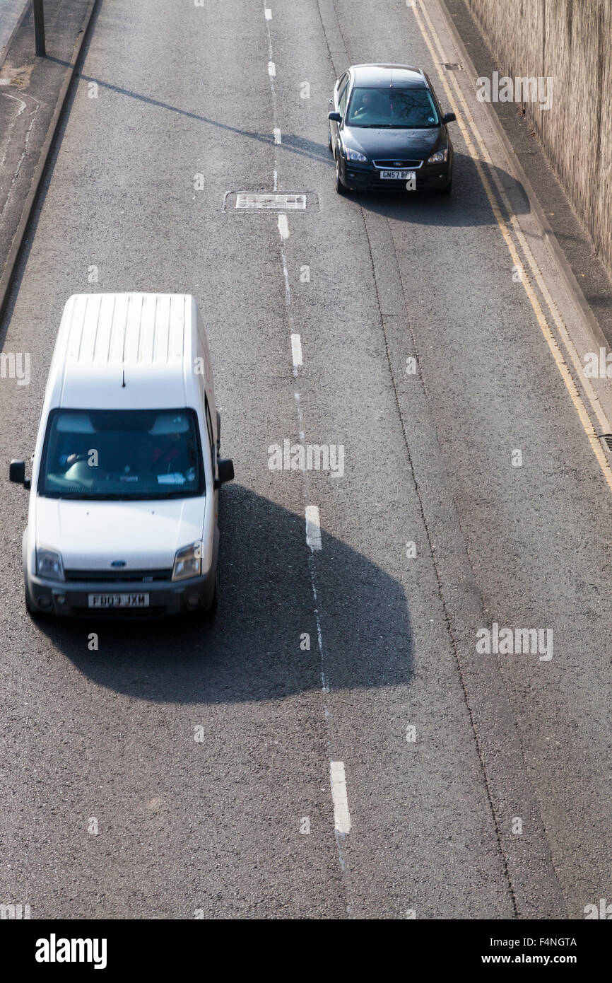 Two lane carriageway from above. Looking down on fast traffic on a road, Leicester, England, UK - Stock Image