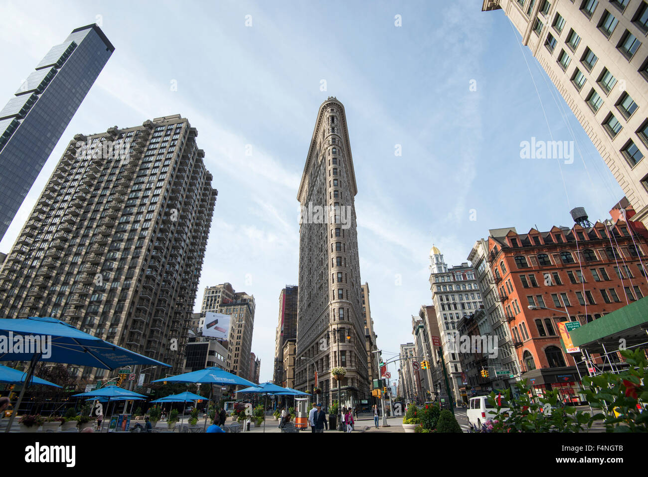 The iconic Flatiron Building in Manhattan, New York City USA - Stock Image
