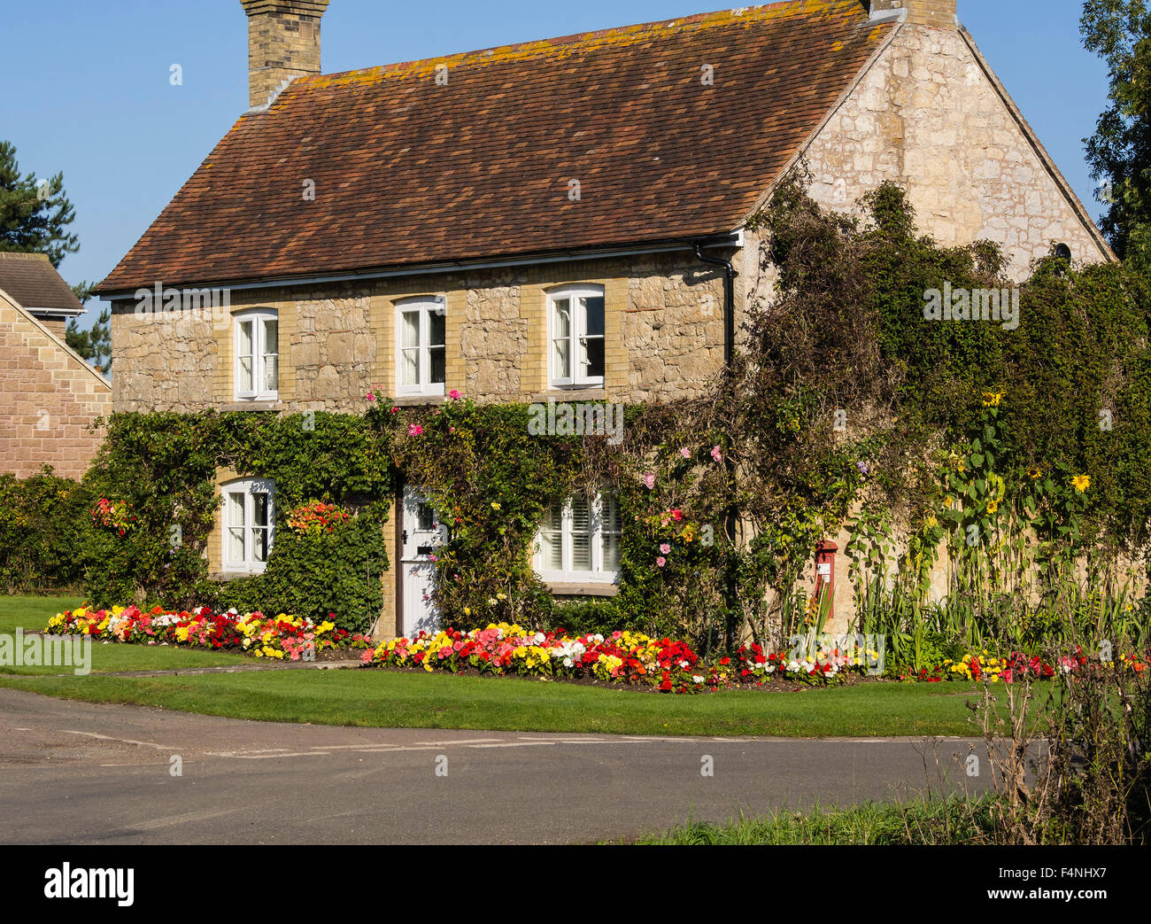 Country Cottage with climbing shrubs and colourful border plants at Newtown, Isle of Wight, England, UK - Stock Image