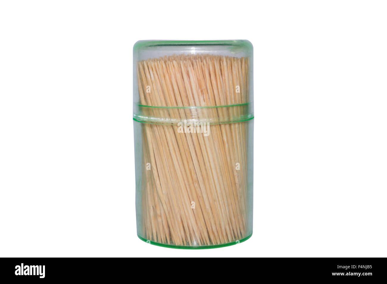 Toothpicks on isolated white background - Stock Image