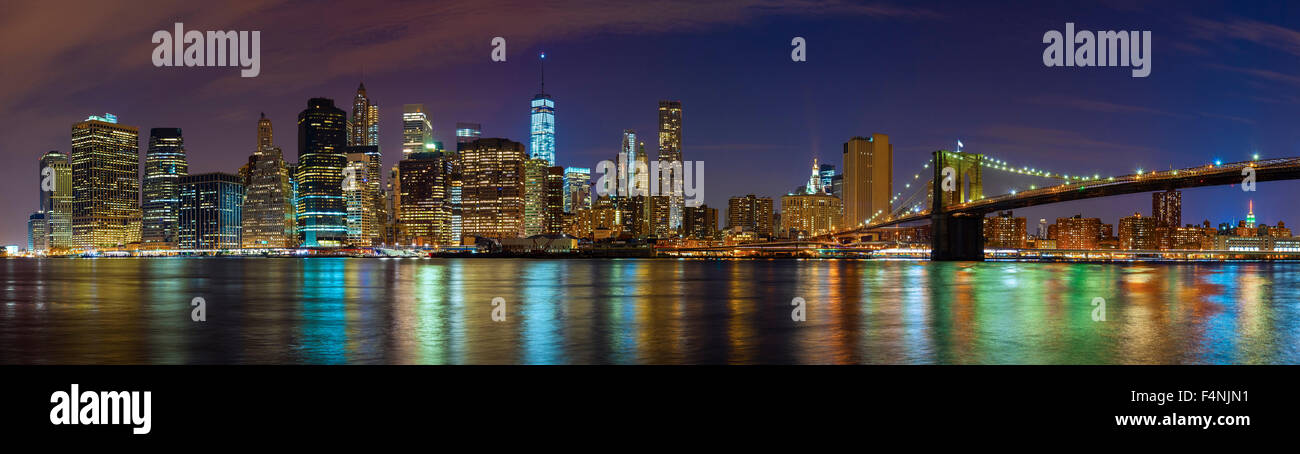 Manhattan skyline at night, New York City panoramic picture, USA. - Stock Image
