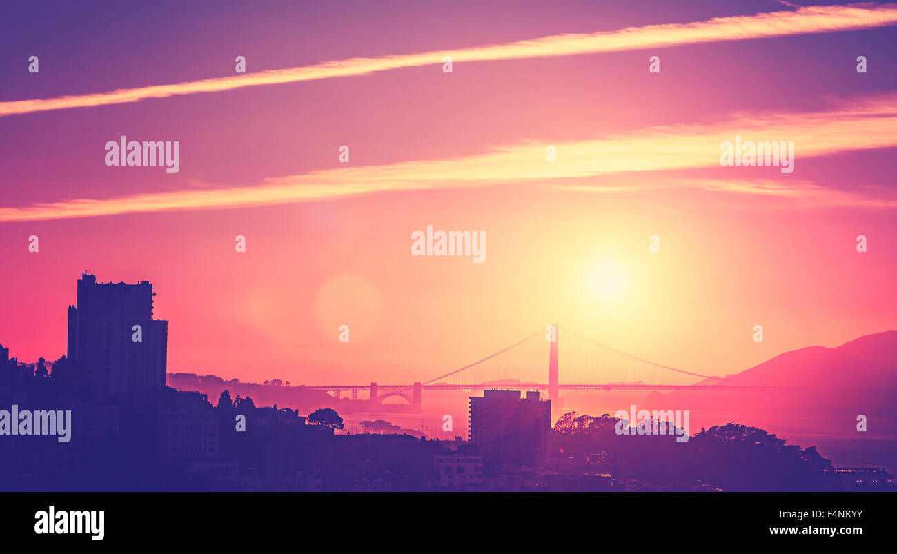 Vintage old style picture of a sunset over San Francisco, USA. - Stock Image