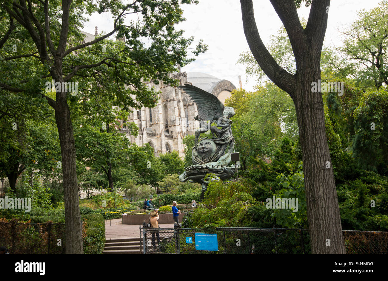 Cathedral Church of Saint John the Divine in Morningside Heights, New York City USA - Stock Image