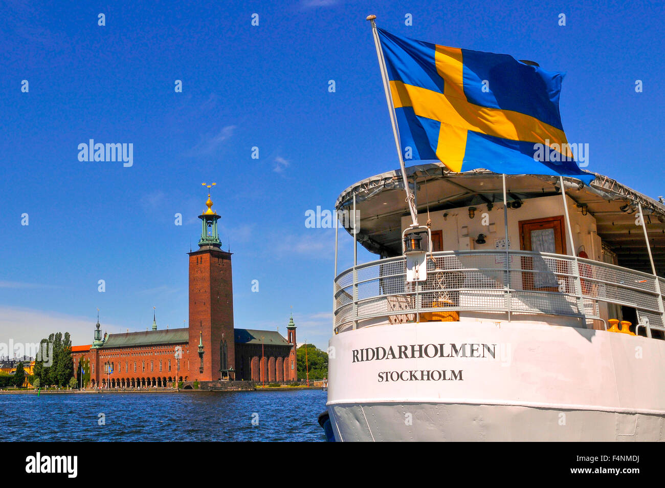 Sweden Stockholm Stadhuset or Town Hall as seen from Riddar Dolmen - Stock Image
