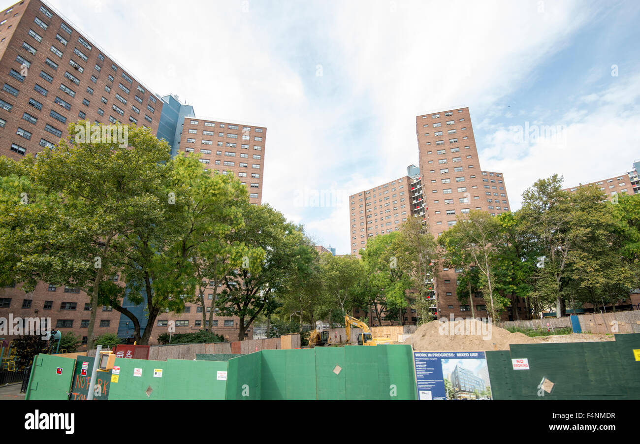 Construction work in Morningside Heights, New York City USA - Stock Image