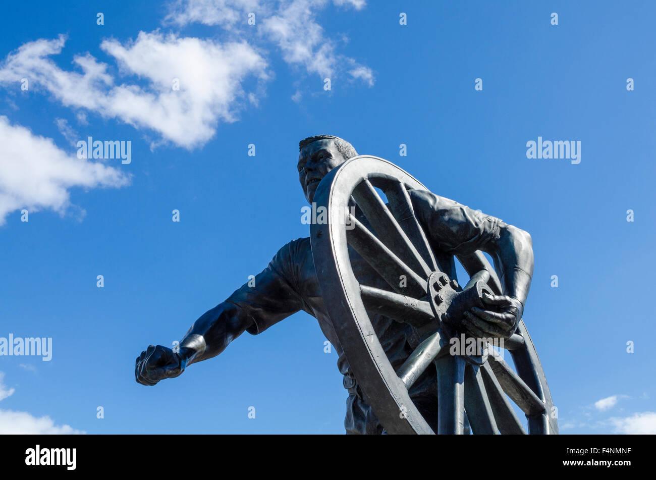 Field Gun Runner statue at Portsmouth Historic Dockyard, Hampshire, England. - Stock Image